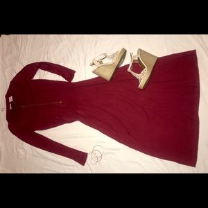 Long sleeve Red fitted dress